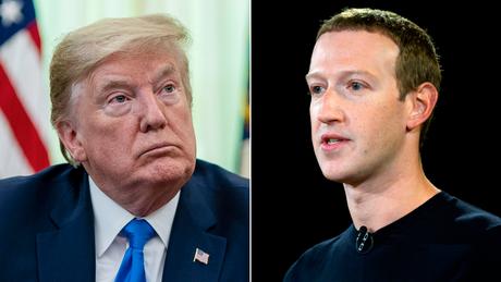 도널드 트럼프 미국 대통령(왼쪽)과 마크 저커버그 페이스북 최고경영자. 중앙포토