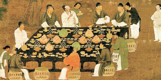 송나라 휘종 시기 궁중생활과 미식문화를 사실적으로 묘사한 '문회도(文會圖)'의 일부. 왕과 귀족들의 연회 장면. [사진제공=교양인]