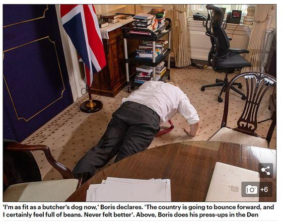 보리스 존슨 영국 총리가 28일(현지시간) 현지 매체 더메일온선데이와의 인터뷰 도중 자신의 건강에 대한 질문을 받고 팔굽혀펴기를 하고 있다. [더메일온선데이]