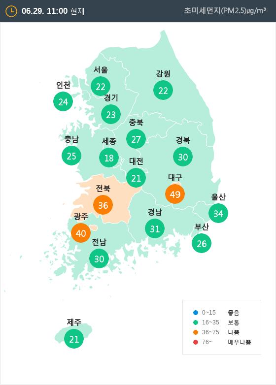 [6월 29일 PM2.5]  오전 11시 전국 초미세먼지 현황