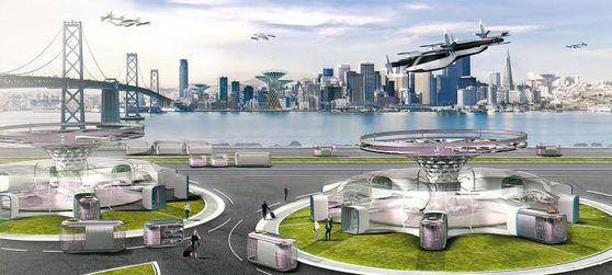 현대차그룹의 신개념 모빌리티 솔루션 '도심항공 모빌리티'(UAM). 개인용 비행체(PAV)가 '허브'(지붕이 원반 모양인 건축물)에 도착하면 도킹스테이션에 있는 목적기반 모빌리티(PBVㆍ상자 모양 차량)를 타고 목적지까지 이동한다. [사진 현대차그룹]