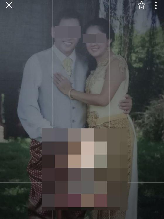 피해자들에게 보여준 공주라고 속인 태국인 아내와 함께 찍은 사진. 주태국 한국대사관 제공=연합뉴스