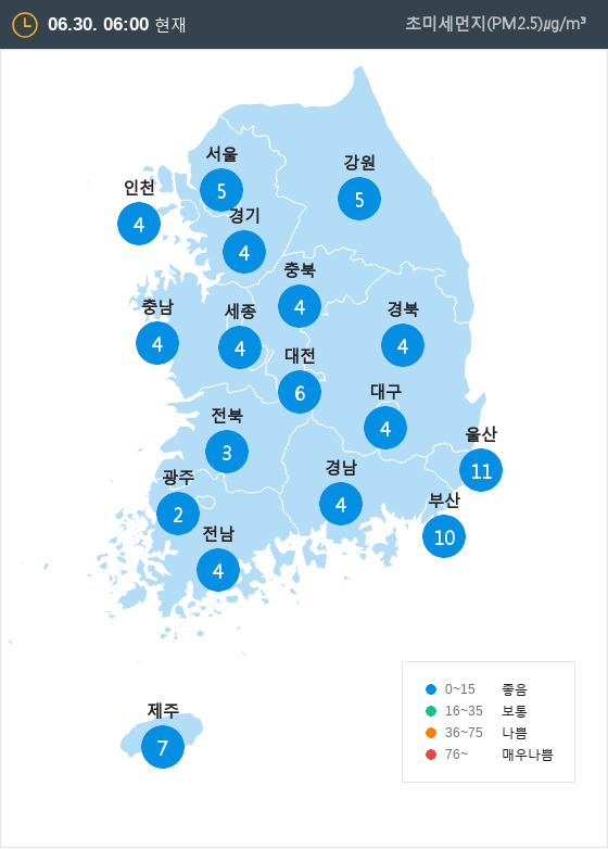 [6월 30일 PM2.5]  오전 6시 전국 초미세먼지 현황
