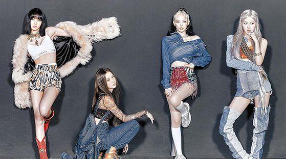 블랙핑크가 지난달 26일 내놓은 '하우 유 라이크 댓'의 뮤직비디오는 역대 최단시간 유튜브 조회 수 1억뷰를 기록했다. 블랙핑크의 리사, 지수, 제니, 로제(왼쪽부터) [사진 YG엔터테인먼트]