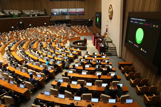 지난달 8일 국회는 개원 첫 안건인 '국회상임위원회 위원정수에 관한 규칙 개정 특별위원회 구성의 건'을 통과시켰다. 오종택 기자