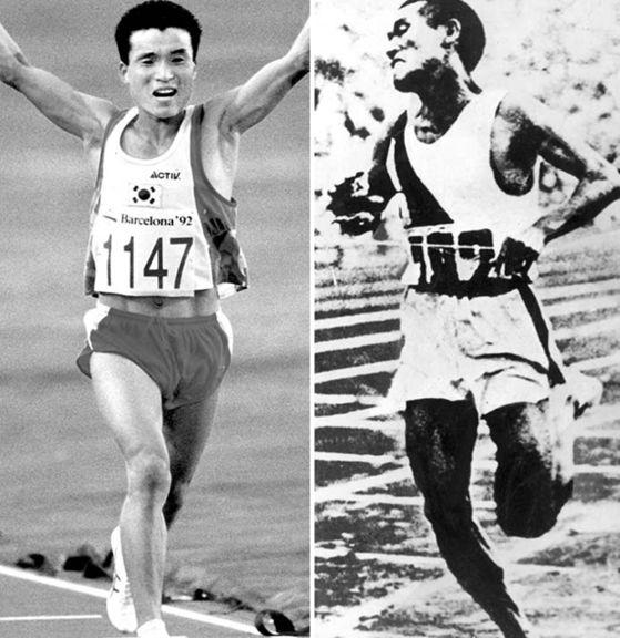 1992년 바르셀로나 올림픽 마라톤에서 금메달을 딴 황영조(사진 왼쪽), 1936년 베를린 올림픽 마라톤에서 우승한 손기정. [사진 국제올림픽위원회]