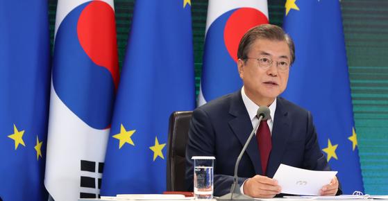 한-EU 화상 정상회담서 발언하는 문 대통령   [연합뉴스]