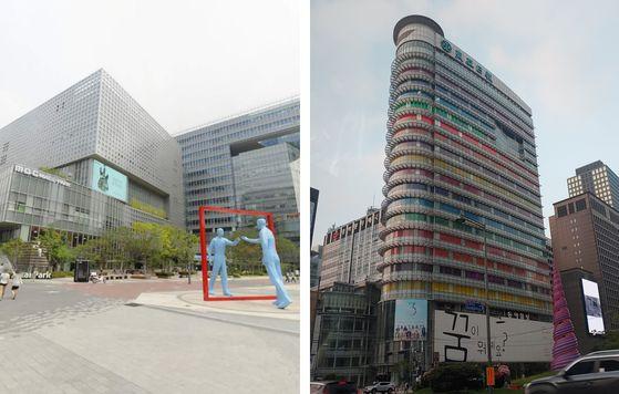 서울 마포구 상암동에 위치한 MBC 본사 전경. 오른쪽은 서울 종로구 서린동에 위치한 채널A 본사 전경. [사진 카카오지도·중앙포토]