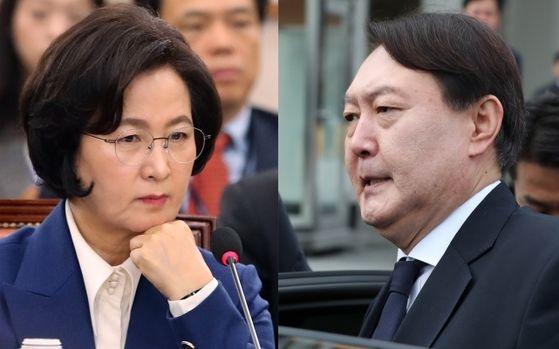 추미애(왼쪽) 법무부장관과 윤석열 검찰총장. 뉴스1