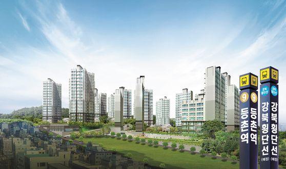 서울 강서구 마곡지구의 직주근접 주거단지로 관심을 끌고 있는 스톤힐등촌 투시도. 인근 2021년 착공 예정인 '강북의 9호선' 강북횡단선은 물론 서울제물포터널의 수혜도 기대된다.