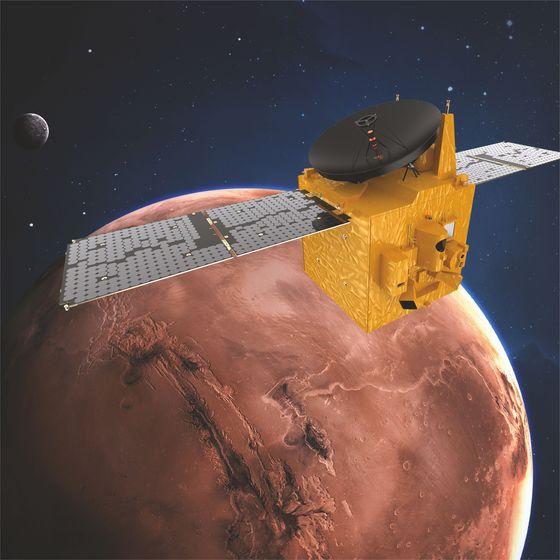 UAE 화성탐사선 알-아말호가 화성 궤도를 돌고 있는 상상도.