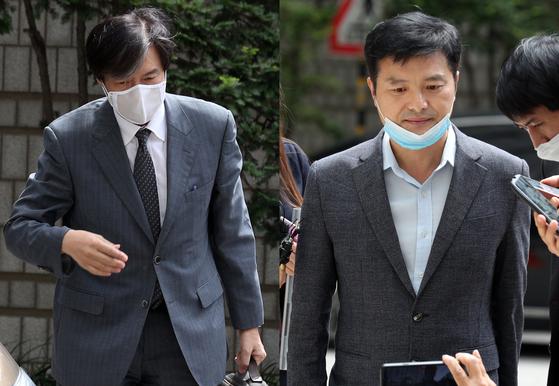 '유재수 감찰무마 혐의'를 받고 있는 조국 전 법무부 장관(왼쪽)이 3일 오후 서울 서초구 중앙지방법원에서 열린 뇌물수수 등 혐의에 관한 4회 공판에 출석하고 있다.〈br〉〈br〉이날 '감찰무마 의혹'을 폭로한 김태우 전 검찰수사관이 증인 신분으로 출석하고 있다. [뉴스1]