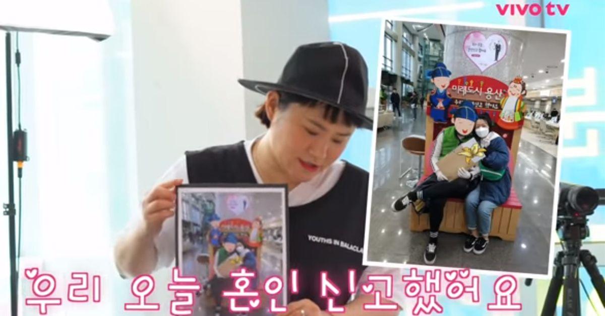 지난 3일 유튜브 채널 '비보티비'에서 방송인 김신영이 동료 안영미의 혼인신고 사실을 알렸다. 사진 유튜브 캡처
