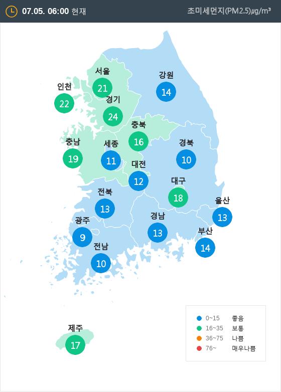 [7월 5일 PM2.5]  오전 6시 전국 초미세먼지 현황