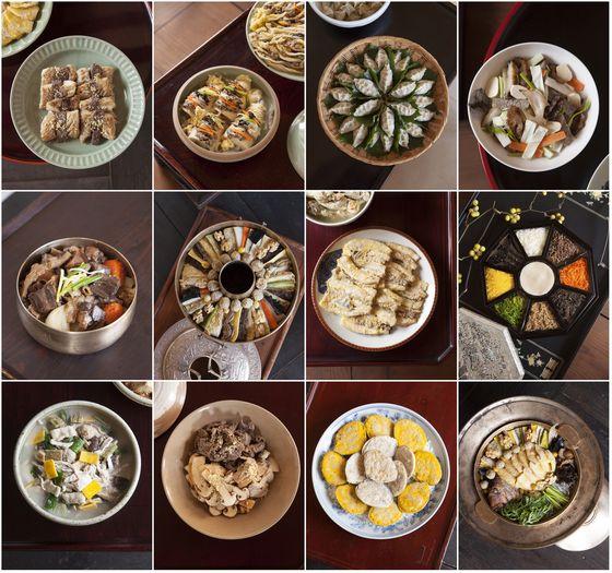 1957년 출판한 책 '이조궁정요리통고' 속 여러 가지 궁중 음식을 재연한 사진들.
