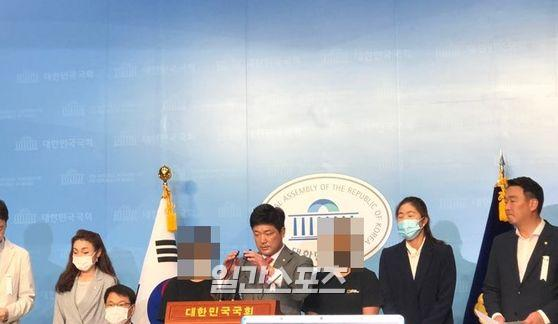 고(故) 최숙현 선수 사건 관련 추가 피해자 선수들이 기자회견에 나섰다. 사진=김희선 기자