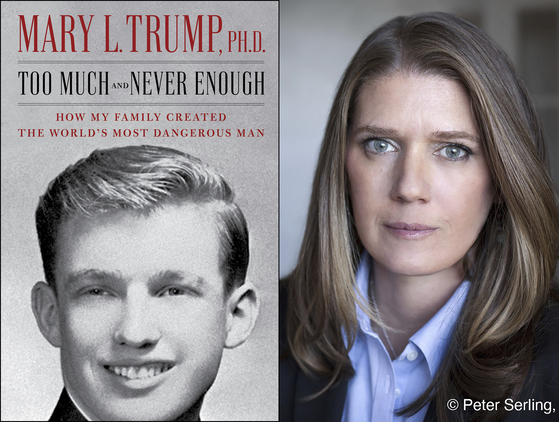 도널드 트럼프 대통령의 조카딸 메리 트럼프(오른쪽)와 그가 출간할 트럼프 대통령에 대한 폭로성 내용이 담긴 책 『너무 많지만 충분치 않은(Too Much and Never Enough)』표지. [AP=연합뉴스]