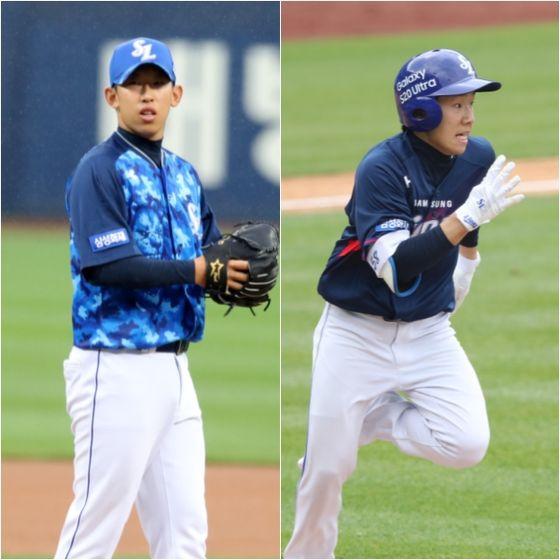 지난 2020 신인 드래프트 2차 1·2라운드에서 지명된 허윤동과 김지찬. 두 선수 모두 시즌 초반 1군 무대에서 강점을 어필하고 있다. 삼성 제공