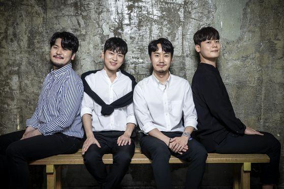 '팬텀싱어3'에서 우승을 차지한 라포엠. 왼쪽부터 정민성, 박기훈, 최성훈, 유채훈. 장진영 기자