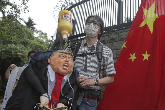 홍콩에서 열린 도널드 트럼프 미 대통령 규탄 시위. AP=연합뉴스