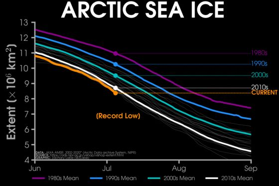올해 북극 해빙 면적(노란선)이 7월 6일 기준으로 역대 가장 빠른 속도로 줄어들고 있다. JACHARY LABE