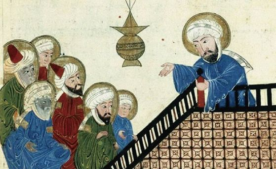 이슬람교 창시자인 무함마드(오른쪽)가 신자들을 향해서 설교를 하고 있다. [중앙포토]
