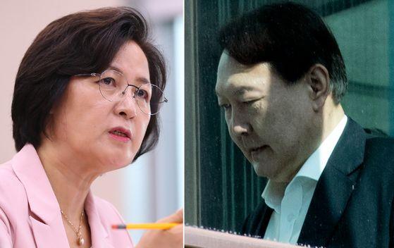 추미애(왼쪽) 법무부 장관, 윤석열 검찰총장. 연합뉴스
