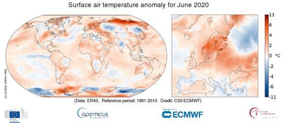 전세계 6월 평균기온. 붉은색이 진할수록 평년(1981-2010년)보다 더웠다는 뜻이다. C3S/ECMWF