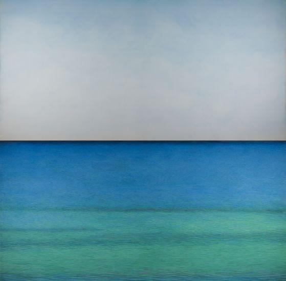 김보희, In Between, 2019, Color on canvas, 400x400cm (2 pieces, 200x400cm each)[사진 금호미술관]