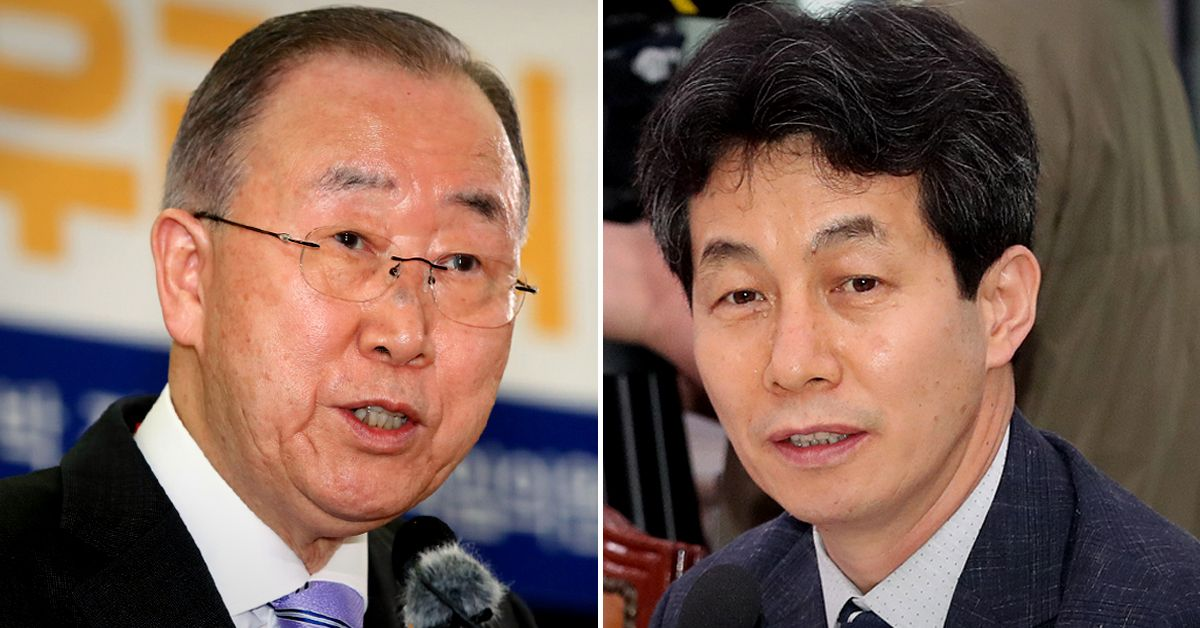 반기문 국가기후환경회의 위원장(왼쪽)과 윤건영 더불어민당 의원. 연합뉴스·뉴스1