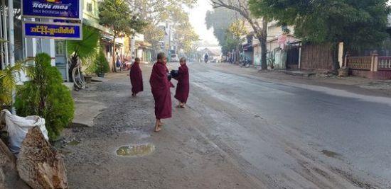 어린 동자승들이 이른 아침에 발우를 들고 맨발로 길거리를 지나고 있는 모습. [사진 조남대]