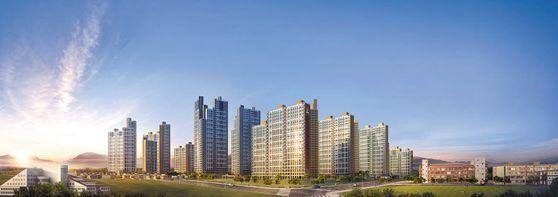 반도건설의 대구 평리3동 재개발 프로젝트 '서대구역 반도유보라 센텀' 투시도.