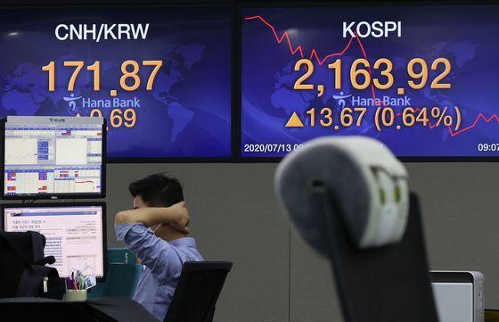 13일 오전 서울 중구 하나은행 본점 딜링룸. 이날 코스피지수는 20.26포인트(0.94%) 오른 2,170.51로 개장했다. 연합뉴스