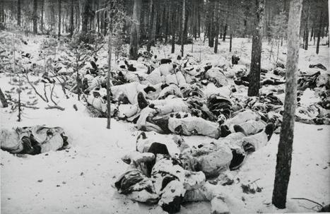 겨울전쟁 기간 중 눈덮인 핀란드 숲속에서 얼어 죽어간 소련군들.[위키피디아]