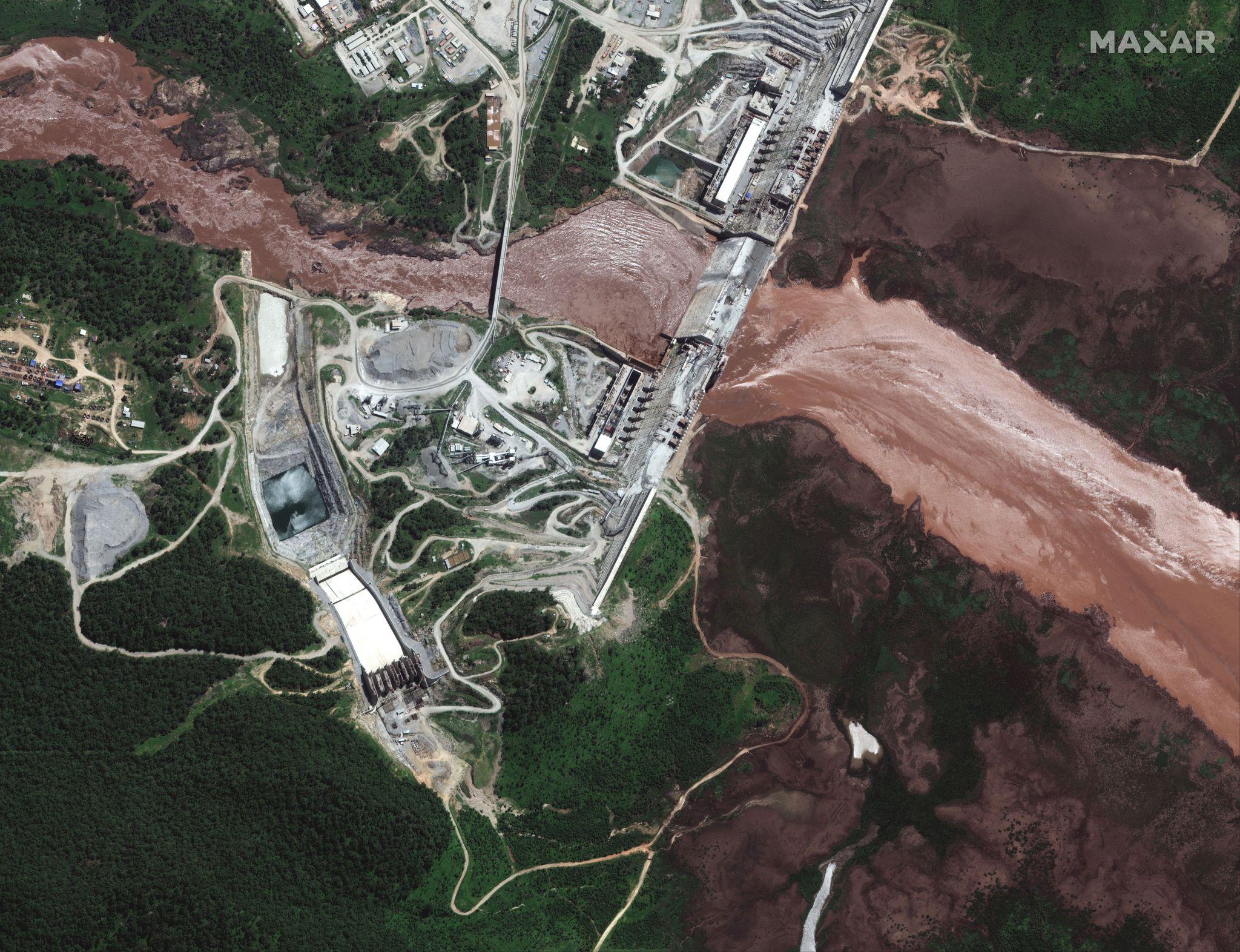 지난 6월 26일 현재 '그랜드 에티오피아 르네상스 댐'의 위성사진. 아직 담수를 시작하지 않았다. 로이터=연합뉴스