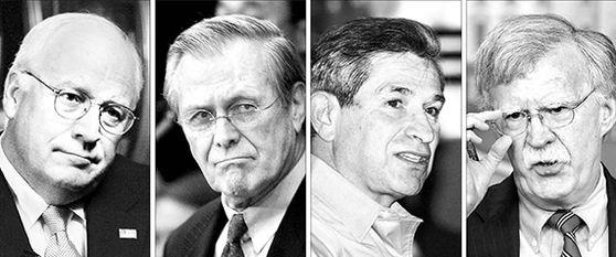 미국 네오콘들. 왼쪽부터 딕 체니 전 부통령. 도널드 럼즈펠드 전 국방장관, 폴 월포위츠 전 국방부 부장관, 존 볼턴 전 국가안보보좌관. 네오콘의 오만은 미 패권을 실추시켰다. [중앙포토]