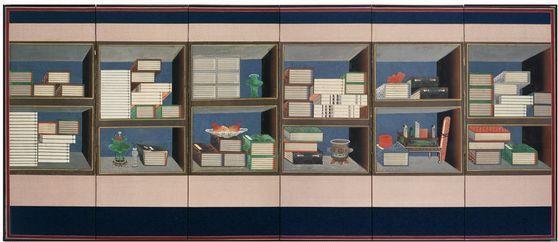 1975~1977년 창덕궁 낙선재서 전시된 여섯 폭짜리 책거리 병풍. Norman Sibley가 촬영했다. 최근 출간된 책거리 그림 영문 연구서는 케이 E 블랙 여사의 유작이 됐다. [사진 사회평론아카데미]
