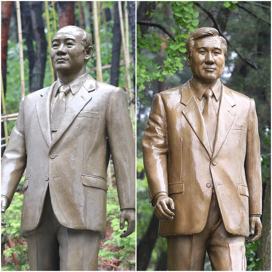 충북도는 2015년 1월 청남대에 전두환(왼쪽)·노태우 전 대통령 동상을 세웠다. [연합뉴스]