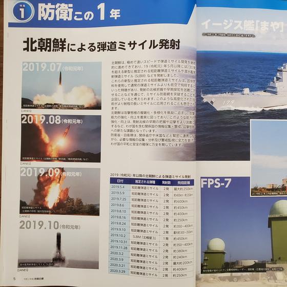 일본 방위성은 14일 발표한 방위백서 권두 특집 세 번째 꼭지인 '북한에 의한 탄도미사일 발사'(5페이지)를 통해 지난해 북한의 미사일 시험 발사 사진 4장을 이례적으로 게재했다. 연합뉴스