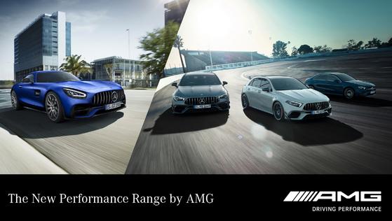 메르세데스-벤츠코리아는 17일 경기도 용인 스피드웨이이에서 AMG 신차 4종을 공개했다. 사진 메르세데스-벤츠