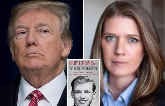 도널드 트럼프 미국 대통령과 조카인 메리 트럼프. 가운데 책은 메리 트럼프가 트럼프 대통령에 대해 폭로한 책