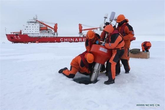 북극해 일대에서 활동한 중국 북극 탐사대 [중국 외교부]