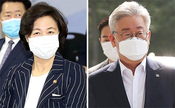 추미애(左), 이재명(右). [뉴스1·연합뉴스]