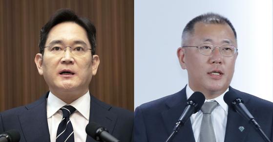 이재용 삼성그룹 부회장(왼쪽)과 정의선 현대차그룹 수석부회장. 연합뉴스