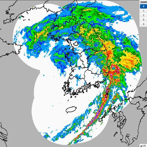 강수 초단기 예측 23일 오후 11시 40분. 기상청 홈페이지