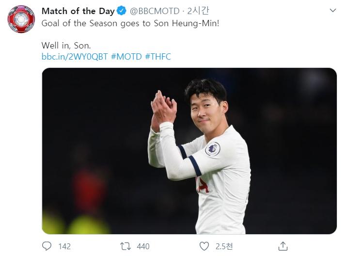 BBC 프로그램 매치 오브 더 데이는 올 시즌 최고의 골 주인공에 손흥민을 선정했다. [사진 MOTD 트위터]