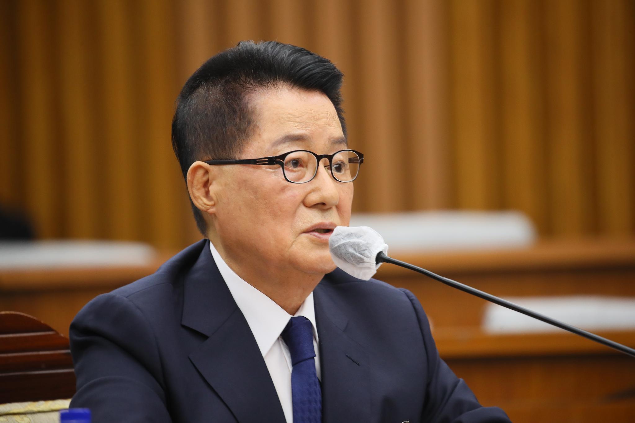 박지원 국가정보원장 후보자가 27일 국회에서 열린 정보위원회 인사청문회에서 발언하고 있다. 연합뉴스