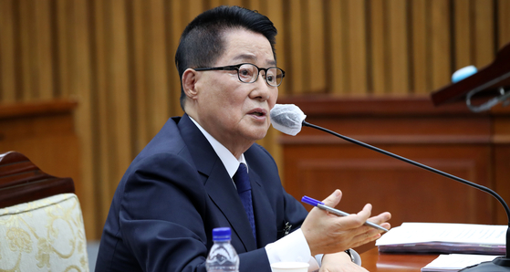 박지원 국가정보원장 후보자가 27일 오후 서울 여의도 국회에서 열린 인사청문회에서 의원 질의에 답하고 있다. 뉴시스