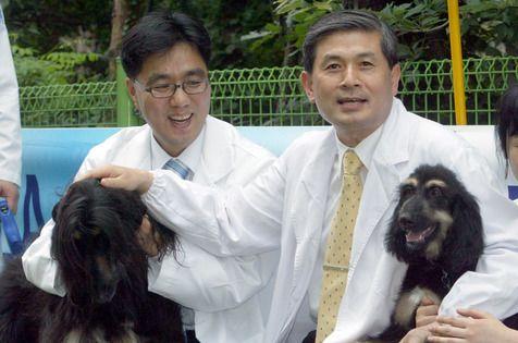 개 복제에 성공한 연구팀이 복제 원본 `타이`(左)와 복제 개`스너피`(右)를 공개하고 있다. 왼쪽부터 서울대 이병천, 황우석 교수. 중앙포토