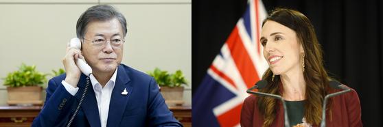 문재인 대통령(왼쪽)이 28일 오후 청와대 여민관에서 저신다 아던 뉴질랜드 총리(오른쪽)와 전화 통화하고 있다. 뉴스1·연합뉴스